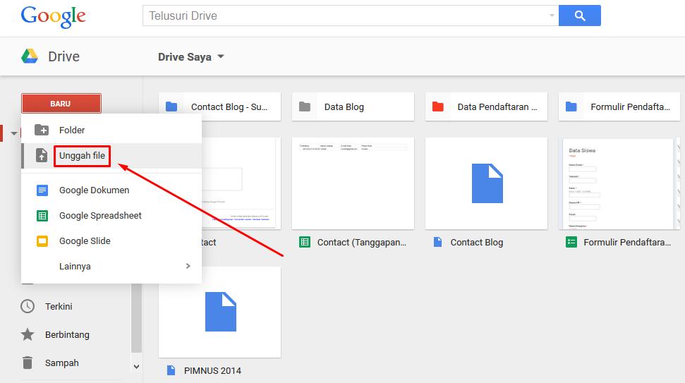 Unggah file di Google Drive