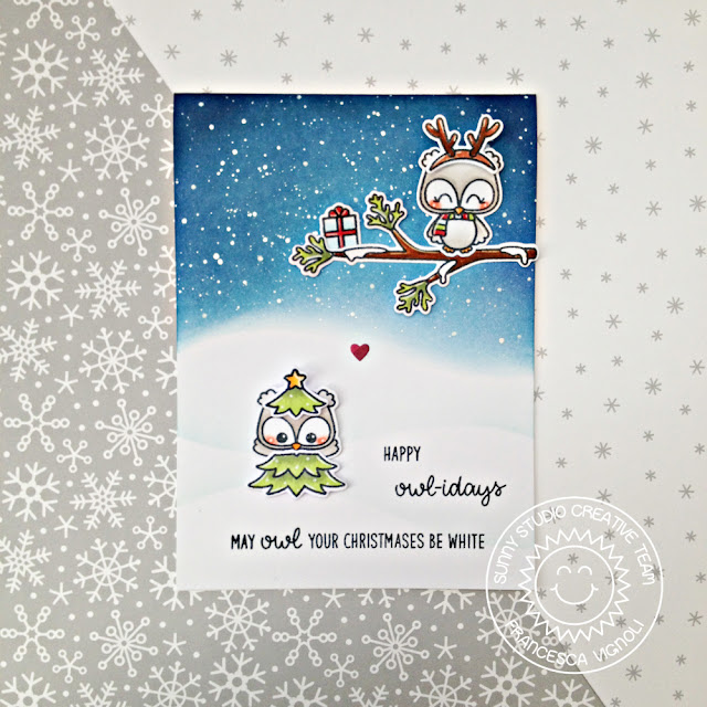 Sunny Studio Stamps: Happy Owlidays Night Sky Background Card by Franci Vignoli