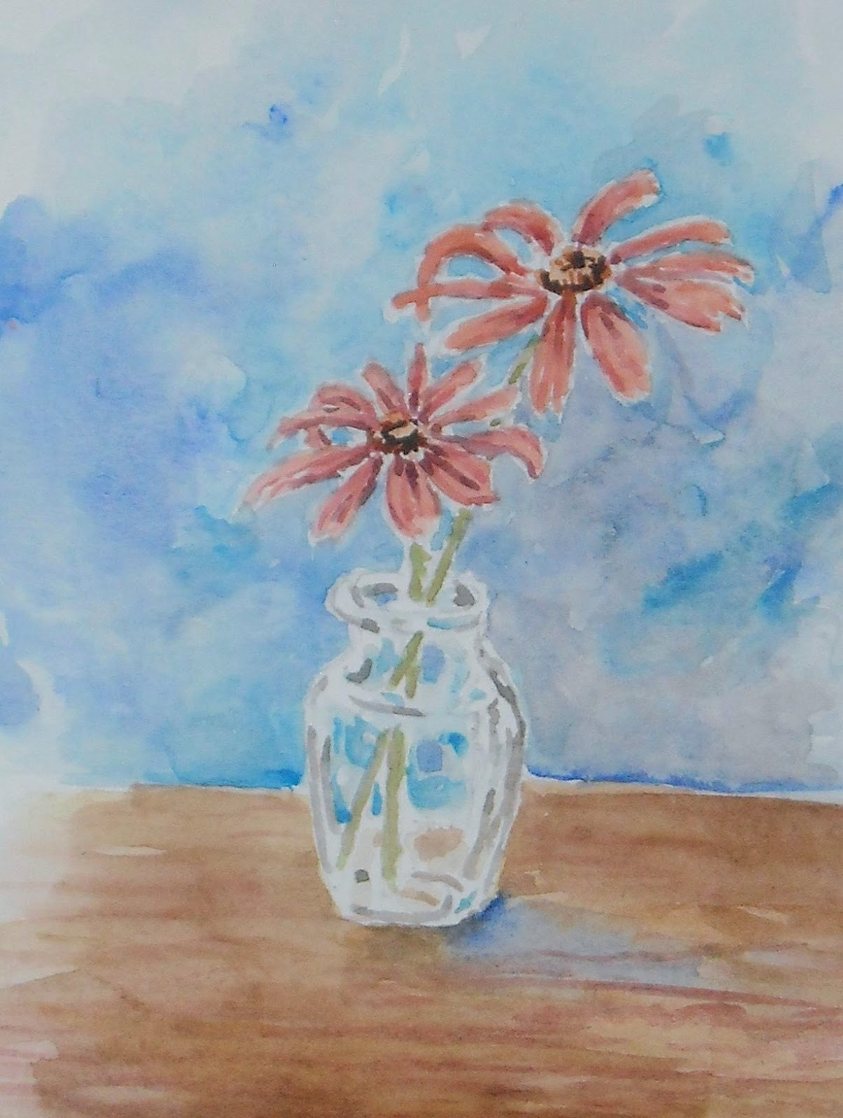 Artist Adron Simple Watercolor Floral Still Life Two