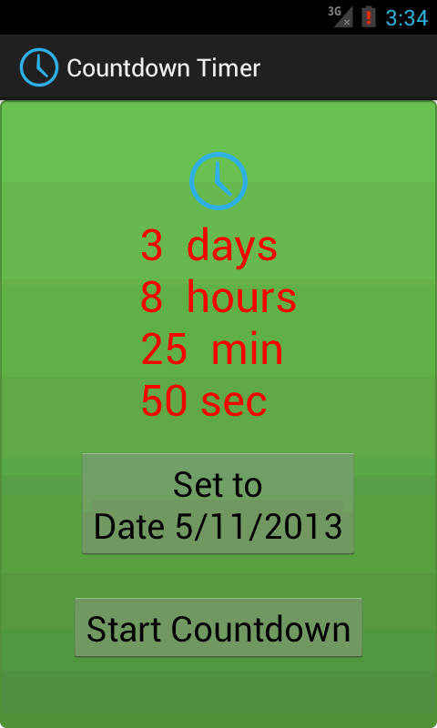 Android java Countdown Timer Example