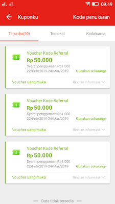 Bukti Bonus Voucher Belanja Gratis dari Aplikasi Akulaku Android