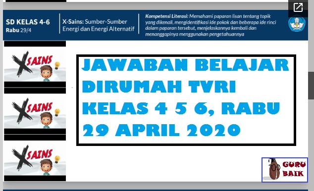 jawaban soal kelas 4 5 6 TVRI 29 April 2020