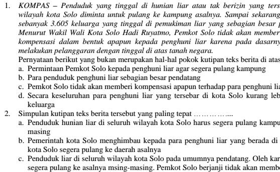 Contoh Soal UTS Bahasa Indonesia SMP Kelas 7 Semester 1