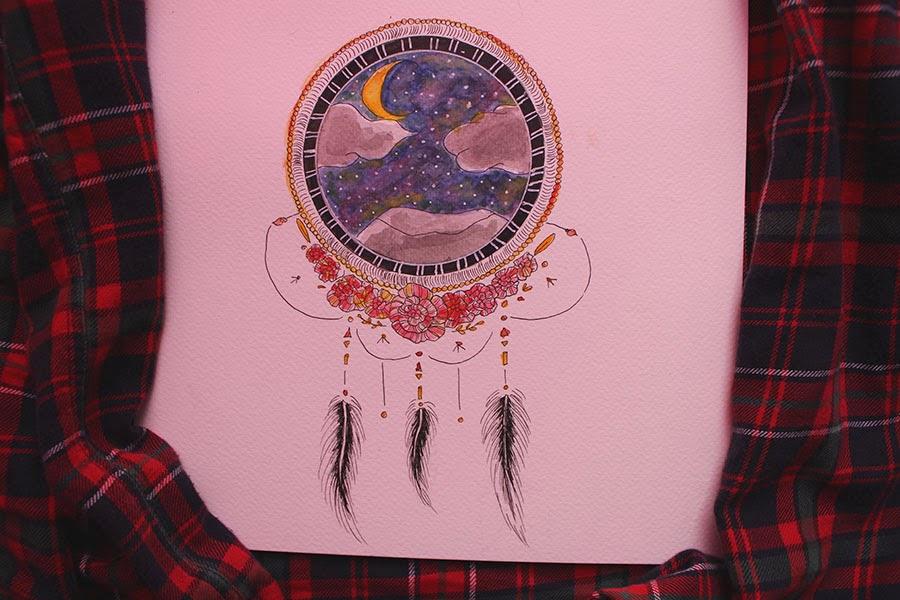 Draw On Monday, #16, Dreamcatcher, attrape rêve, watercolor, night, dream, dessin, blog dessin, blog dessin, aquarelle, DOM, enjoyk, kelly,
