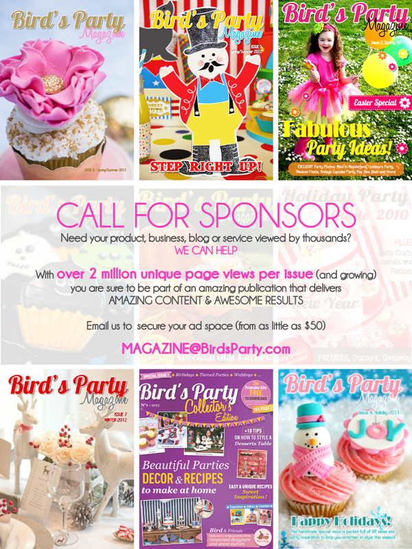 Bird's Party Magazine | Call for Party Shops - BirdsParty.com