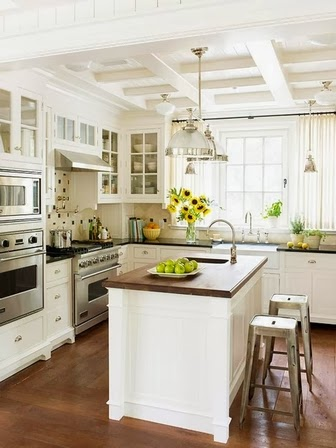 ceiling with exposed beams for kitchen