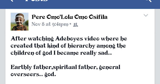 UP Exclusive: A Facebook user comes for Pst. E.A Adeboye...
