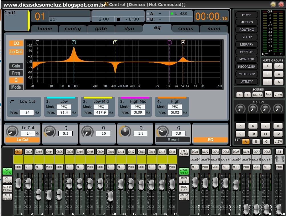 Dicas de Som e Luz BEHRINGER DIGITAL MIXER X32  XControl Editor v05