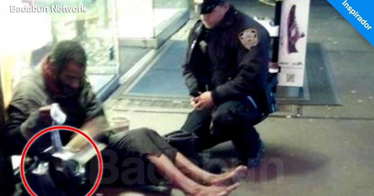 vagabundo llega a tienda policía ayuda acto noble