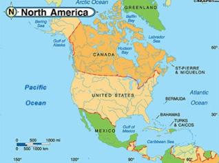 map benua amerika utara