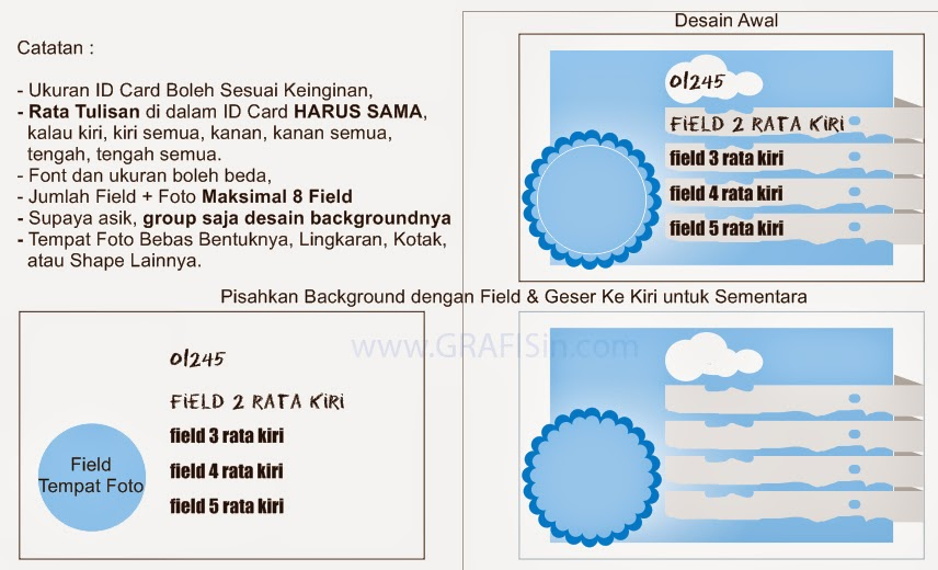 Desain Tempat Field ID Card dan Background ID Card di CorelDraw