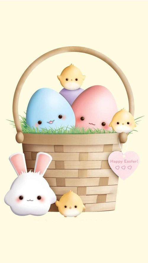 happy Easter eggs and bunny