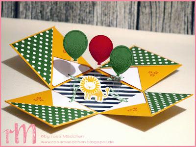 Stampin' Up! rosa Mädchen Kulmbach: Explosionsbox zum Geburtstag mit Zoo Babies, Partyballons, Grußelemente, Luftballonstanze und Designerpapier