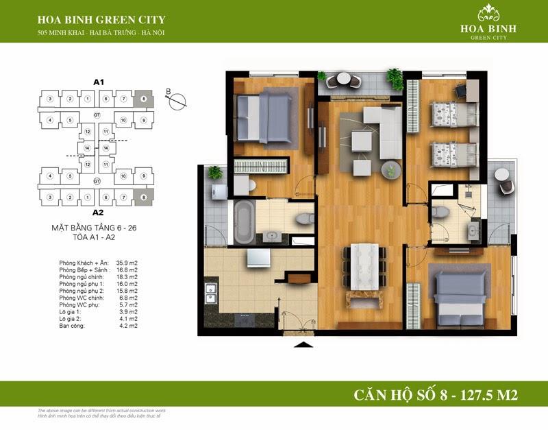 căn số 08 ( 127,5m2 ) chung cư Hòa Bình Green City