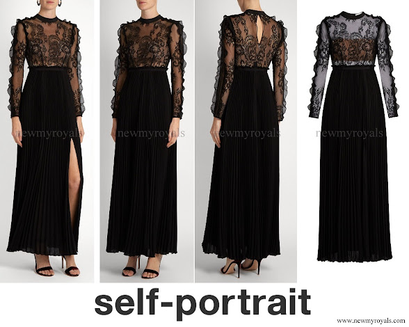 Princess Madeleine wore SELF PORTRAIT Moni lace and pleated crepe maxi dress