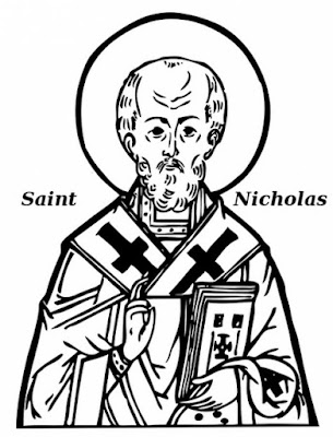 Saint Nicholas black white outline image