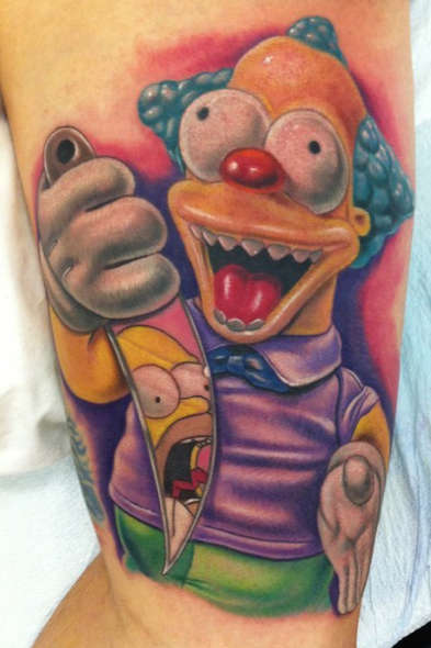 Tatuaje Treehouse of horror Krusty Clown vs Homero Simpson