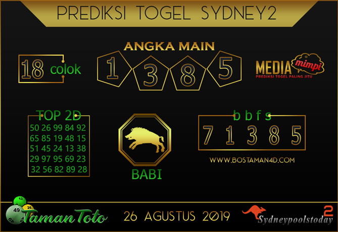 Prediksi Togel SYDNEY 2 TAMAN TOTO 26 AGUSTUS 2019