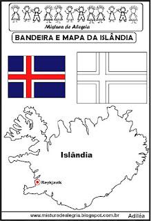 Bandeira e mapa da Islândia
