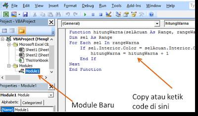 cara menulis code ke module vba