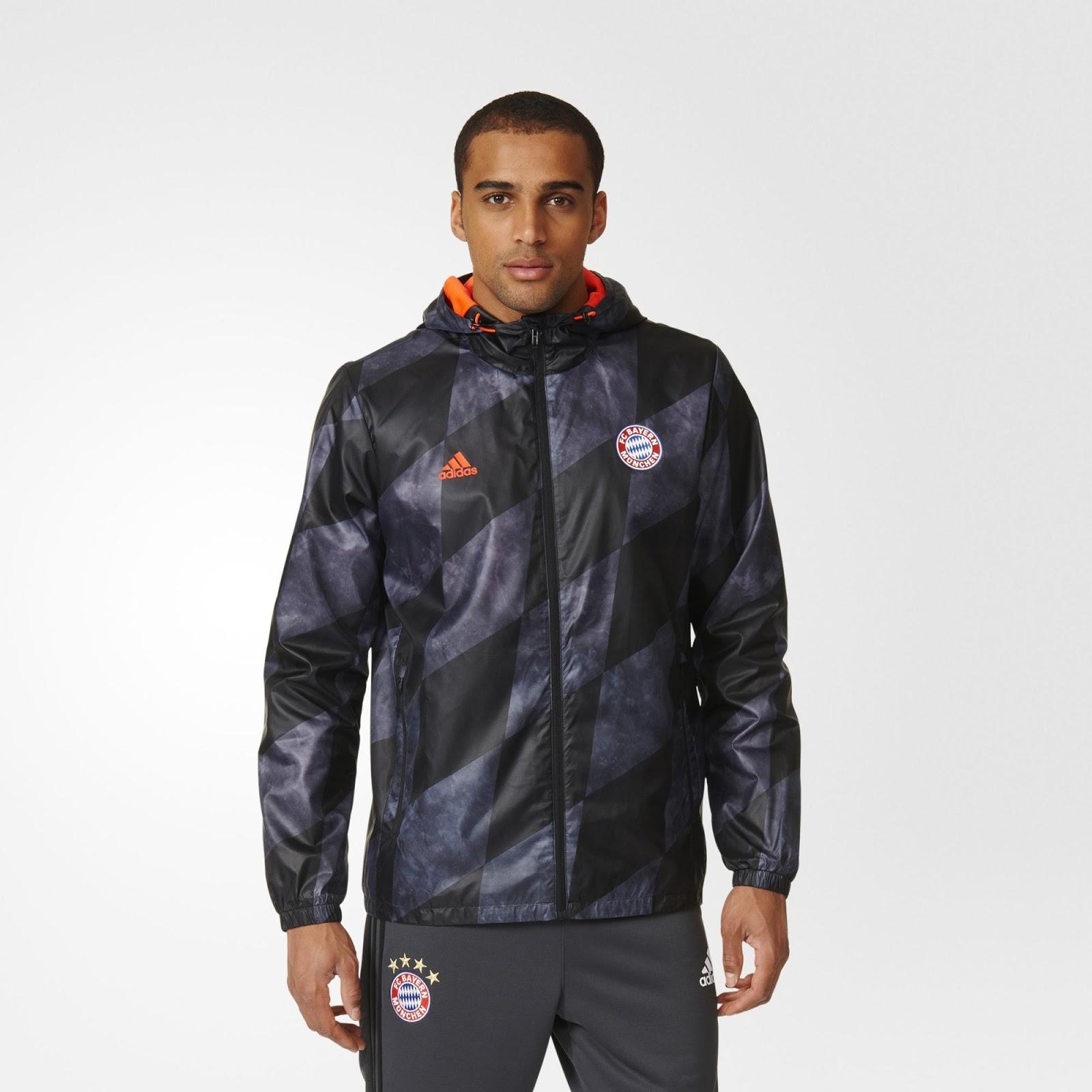 revealed bayern m nchen 16 17 windbreaker jacket shows. Black Bedroom Furniture Sets. Home Design Ideas