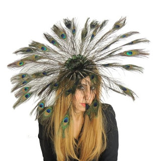 Gorgeous Large Peacock Eyes Feathers Fan Daylily Kentucky Derby Hat