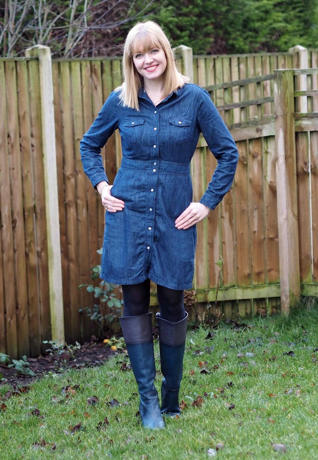 Boden denim shirt dress with knee-high boots