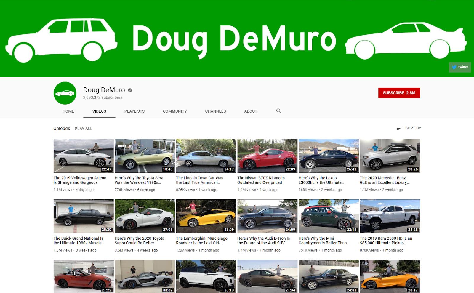 Doug Demuro YouTube dougdemuro .com