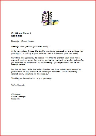 Official Blog of wwwsetupmyhotel © - sample welcome letter