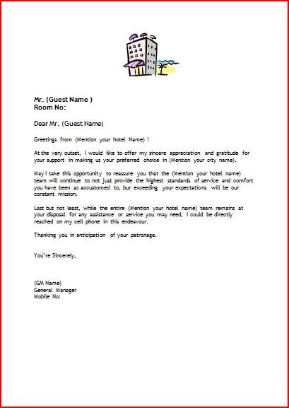 hotel welcome letter official of www setupmyhotel 22135 | Welcome Letter format for hotels