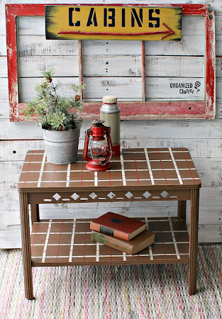 Vintage Table Upcycle with Plaid Shirt Stencil