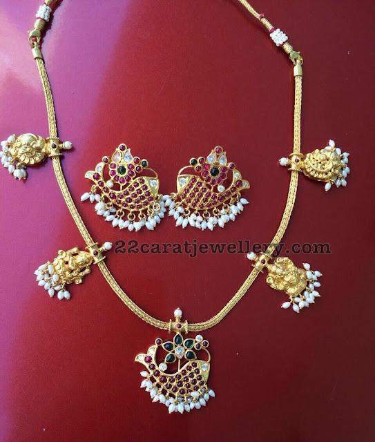 Silver Necklace with Lakshmi Fish Motifs