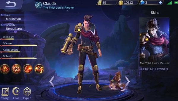 Hero Claude Mobile Legends, Sang Raja Pencuri Handal