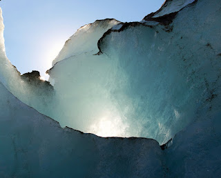 backlit glacial ice