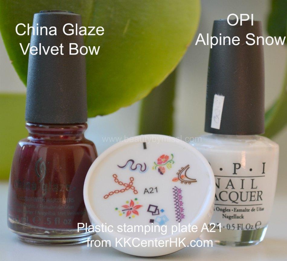 China Glaze Velvet Bow, plastic stamping plate A21, OPI Alpine Snow