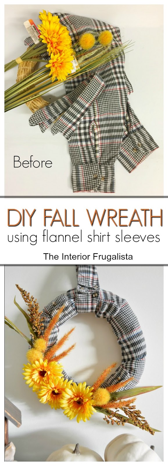 Easy DIY Fall Wreath Before and After