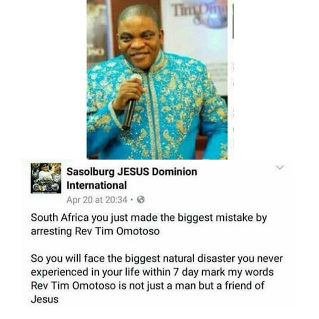 South Africa will face the biggest natural disaster for arresting Pastor Omotosho -Church member