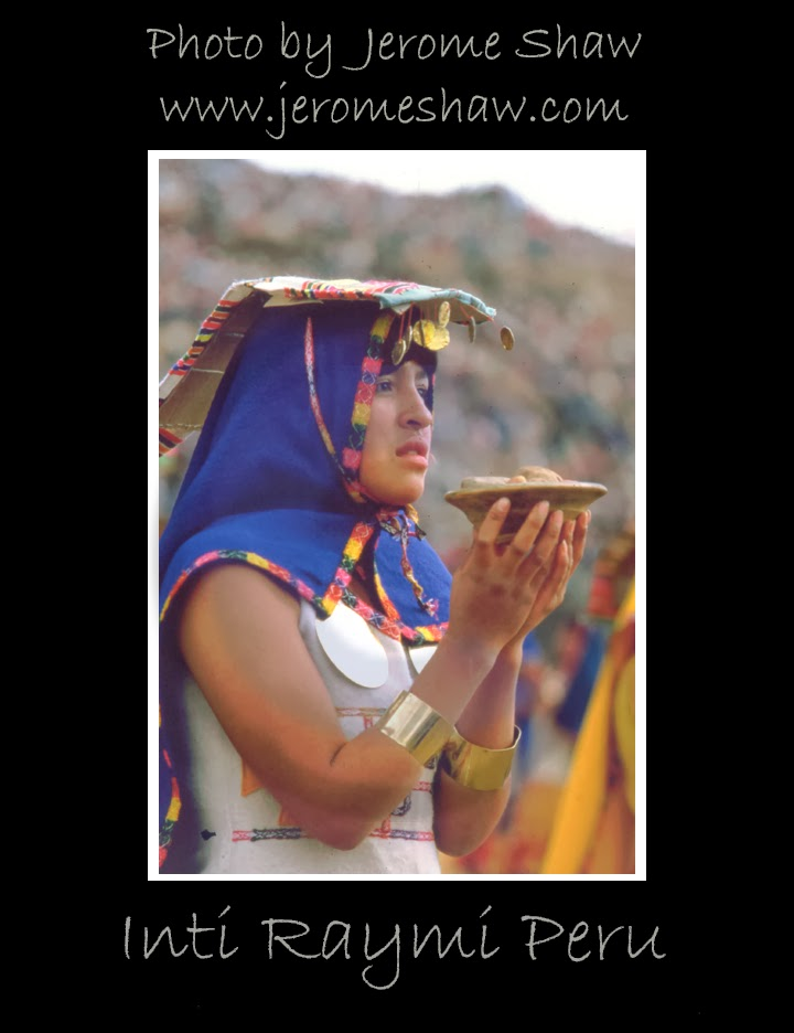 An Incan Princess holds an offering to sun god Inti, Inti Raymi Celebration at Sacsayhuamán in Cusco, Peru  .Photograph byJerome Shaw / wwwJeromeShaw.com