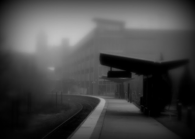 MBTA, Commuter Rail, Station, Salem, Massachusetts, fog, black, soft focus