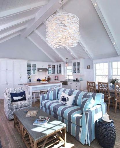 Cabana Stripe Sofa Decor Idea for Nautical Design