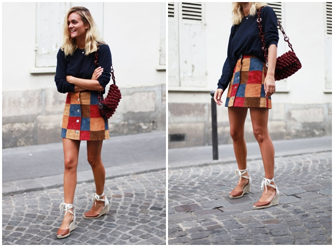 ASOS 2015 Fall Patchwork Suede Button Through Skirt
