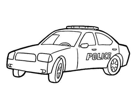 Tranh tô màu xe ô tô cảnh sát 08