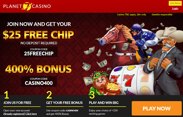 Planet7 Casino 400% Welcome Bonus and $25 FREE