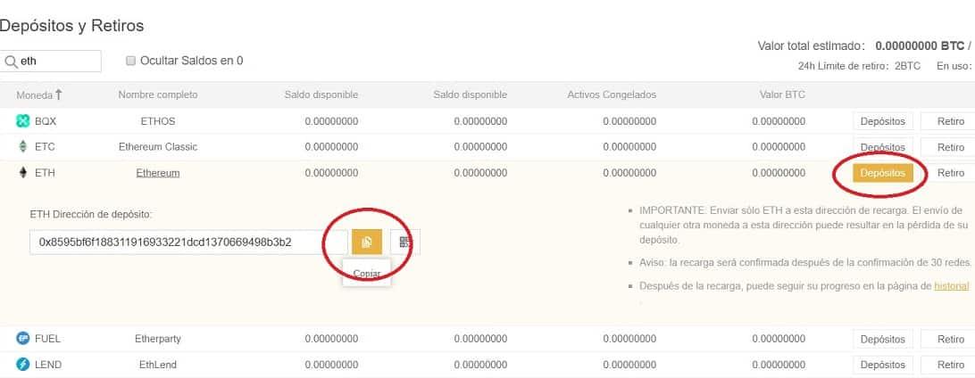 depositar ethereum para comprar OMG en bitfinex