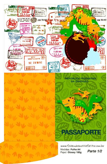 Imprimible con forma de Pasaporte de Fiesta de Dinosaurios.