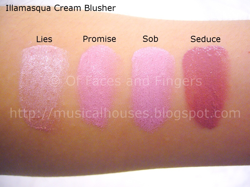 Illamasqua Cream Blusher Swatches Part 1 of 3 - of Faces and Fingers