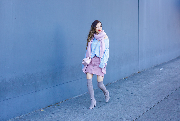 Free people lofty v neck sweater, rebecca minkoff pink sweater, topshop button denim miniskirt, baublebar earrings, chanel mini flap bag, stuart weitzman highland over the knee boots, winter outfit ideas, pastel outfit ideas, holiday outfit ideas