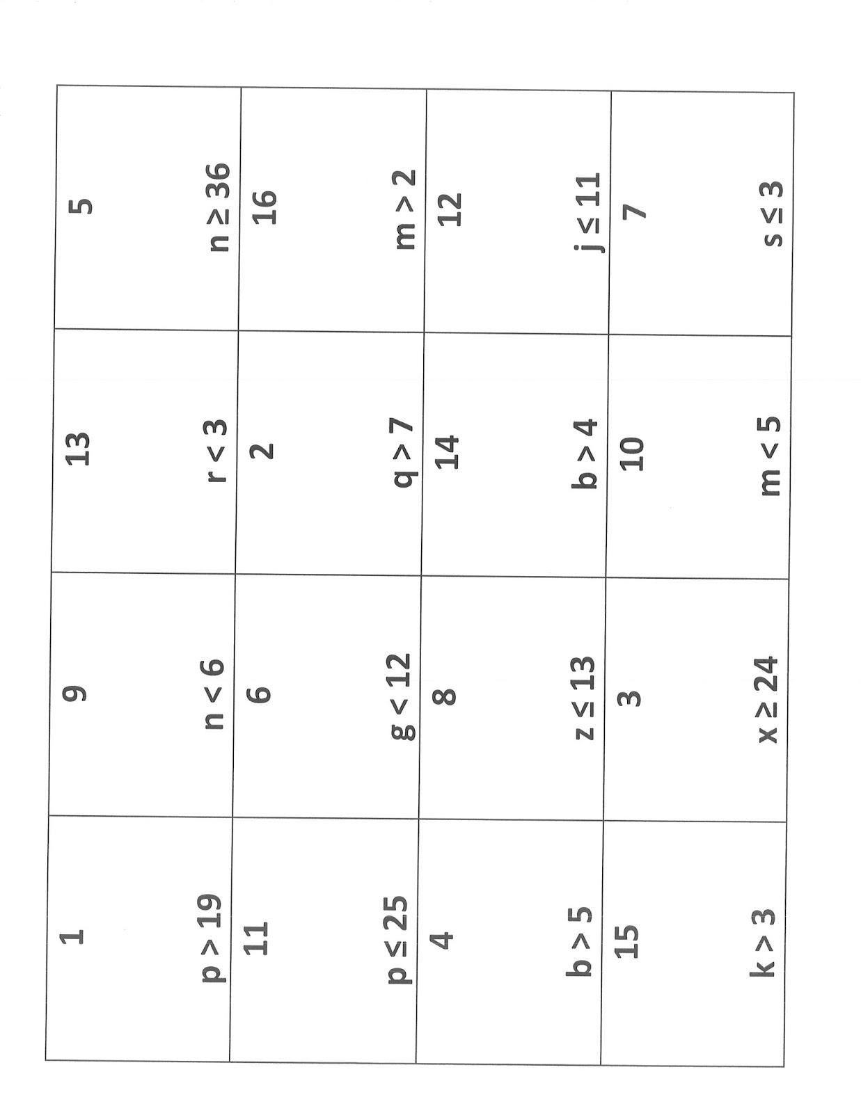 6th Grade Inequalities Math Worksheet Printable