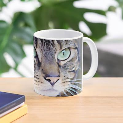 coffee mug with tabby cat art print