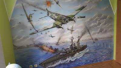Malowanie ściany w pokoju chłopca, bitwa morska, malowiło ścienne 3D